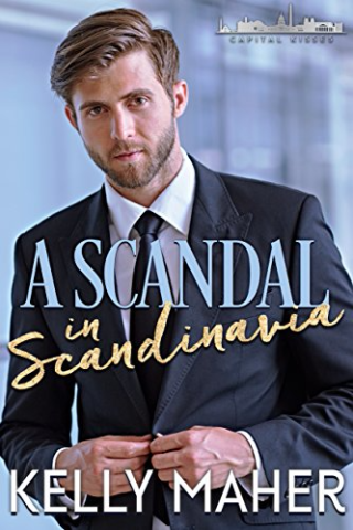 Cover of A Scandal in Scandinavia, handsome white man in dark suit and tie with a close-cropped beard.