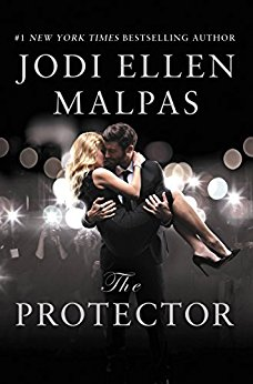 Man in a black suit carries a blonde white woman in a black dress and stilletos, Cover of the Protector by Jodi Ellen Malpas