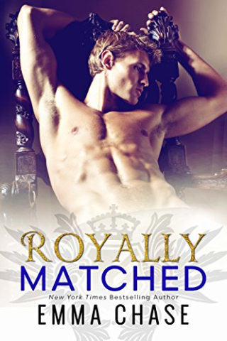 Cover of Royally Matched by Emma Chase, White man with built body lounges on carved chair without a shirt.