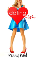 A blonde woman holds a giant heart, cover of dating-ish by Penny Reid
