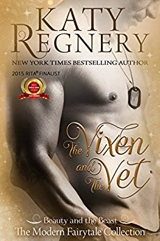 Cover of Katy Regnery's The Vixen and the Vet, bare chest and torso at side angle, of a man wearing dog tags.