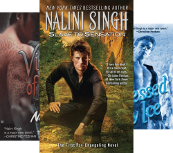 Covers of three psychangeling books stacked with a man crouched front and center in the slave to sensation cover_