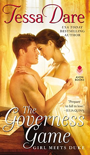Cover of the Governess Game by Tessa Dare. Two people, embracing, forehead to forehead on the edge of a desk