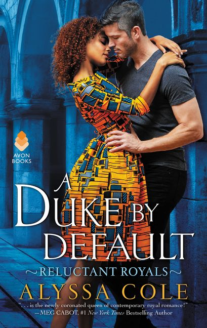 Duke by Default  beautiful black woman in a colorful dress in the arms of a silver fox man in a grey shirt and black pants
