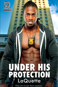 Under his protection cover laquette black man shirtless in hoodie  with badge hanging around his neck