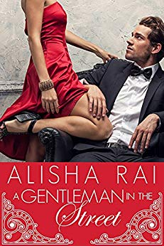 Alisha Rai a gentleman in the street woman in red strapless dress  being looked at by man in tuxedo